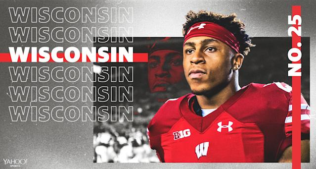 Can Wisconsin improve on a disappointing 8-5 season in 2018? (Graphic via Yahoo Sports)