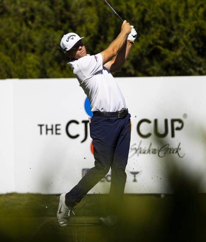 Talor Gooch tees off at the fifth hole during the third round of the CJ Cup golf tournament at Shadow Creek Golf Course, Saturday, Oct. 17, 2020, in North Las Vegas. (Chase Stevens/Las Vegas Review-Journal via AP)