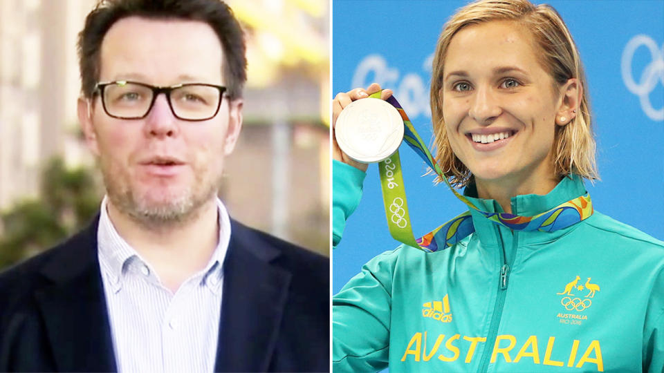 Swimming Australia boss Kieren Perkins, pictured here responding to Maddie Groves' claims.