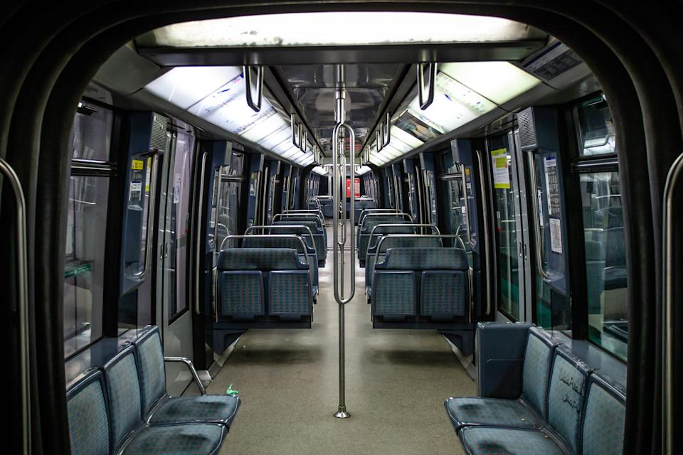 PARIS, April 26, 2020 .Photo taken on April 26, 2020 shows an empty subway train in Paris, France. France saw COVID-19 deaths rose by 242 to 22,856 as of Sunday, the lowest daily increase this week, bringing relief to the health system of the country which is planning to lift the lockdown on May 11, data from the Health Ministry showed. (Photo by Aurelien Morissard/Xinhua via Getty) (Xinhua/ via Getty Images)