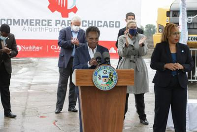 """Chicago Mayor Lori Lightfoot celebrates the opening of NorthPoint Development's Commerce Park Chicago. The 200-acre-site is located on the former Republic Steel plant, which has remained vacant for nearly 20 years. Lightfoot called the $164 million investment """"the embodiment of public-private sector partnerships that are built from the values of innovation, inclusion and economic empowerment."""""""