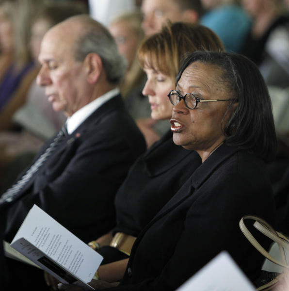 In this April 10, 2011 photo, Rep. Lois DeBerry, D-Memphis, right, attends a memorial service for former Tennessee Gov. Ned McWherter in Dresden, Tenn. DeBerry, 80, died July 28, 2013, of pancreatic cancer in Memphis. With DeBerry are former Rep. Jimmy Naifeh, left, and House Speaker Beth Harwell, R-Nashville, center. (AP Photo/Mark Humphrey, File)