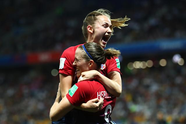 Isabell Herlovsen of Norway celebrates with teammate Caroline Graham Hansen after scoring her team's first goal during the 2019 FIFA Women's World Cup France Round Of 16 match between Norway and Australia at Stade de Nice on June 22, 2019 in Nice, France. (Photo by Martin Rose/Getty Images )