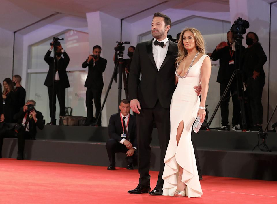 """VENICE, ITALY - SEPTEMBER 10:  Ben Affleck and Jennifer Lopez attend the red carpet of the movie """"The Last Duel"""" during the 78th Venice International Film Festival on September 10, 2021 in Venice, Italy. (Photo by Elisabetta A. Villa/Getty Images)"""