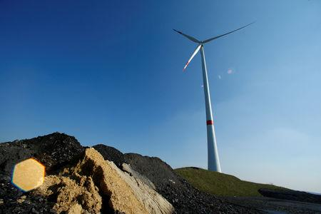 FILE PHOTO: A wind turbine used to generate electricity near the Ruhr area city of Marl, Germany April 14, 2016.  REUTERS/Ralph Orlowski/File Photo