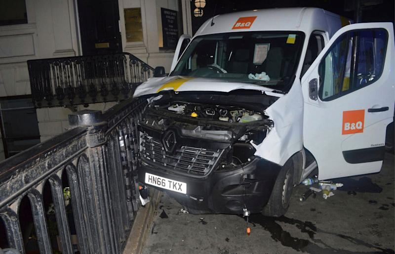 An undated handout photo issued by the Metropolitan Police, London, and made available Saturday, June 10, 2017, of the van used in the London Bridge attacks of Saturday June 3 which killed several people and wounded dozens more. The ringleader of the London Bridge terror gang tried to hire a 7.5 tonne lorry hours before the attack, police have revealed. Detectives suspect the carnage inflicted could have been even worse if Khuram Butt had not failed to secure the vehicle because his payment did not go through. (Metropolitan Police London via AP)o
