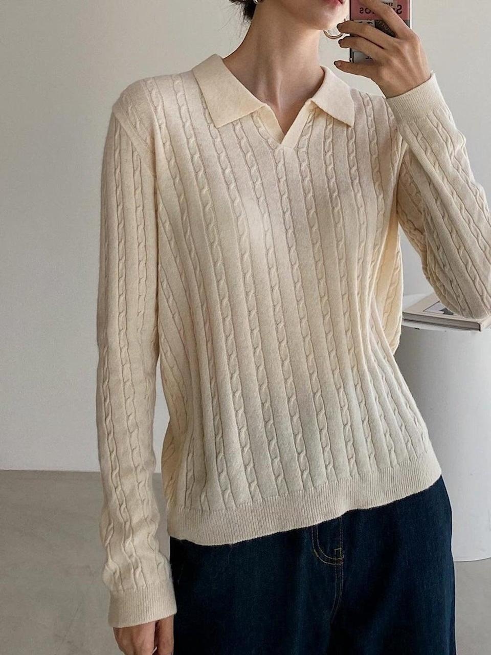 """<br><br><strong>Obvvis</strong> Cashmere and Wool-Blend Cable Knit Polo Top, $, available at <a href=""""https://www.etsy.com/uk/listing/871961440/cashmere-and-wool-blend-cable-knit-polo?"""" rel=""""nofollow noopener"""" target=""""_blank"""" data-ylk=""""slk:Etsy"""" class=""""link rapid-noclick-resp"""">Etsy</a>"""