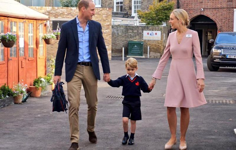 Prince George was accompanied by his dad Prince William on his first day of school at Thomas's Battersea. Source: Kensington Palace