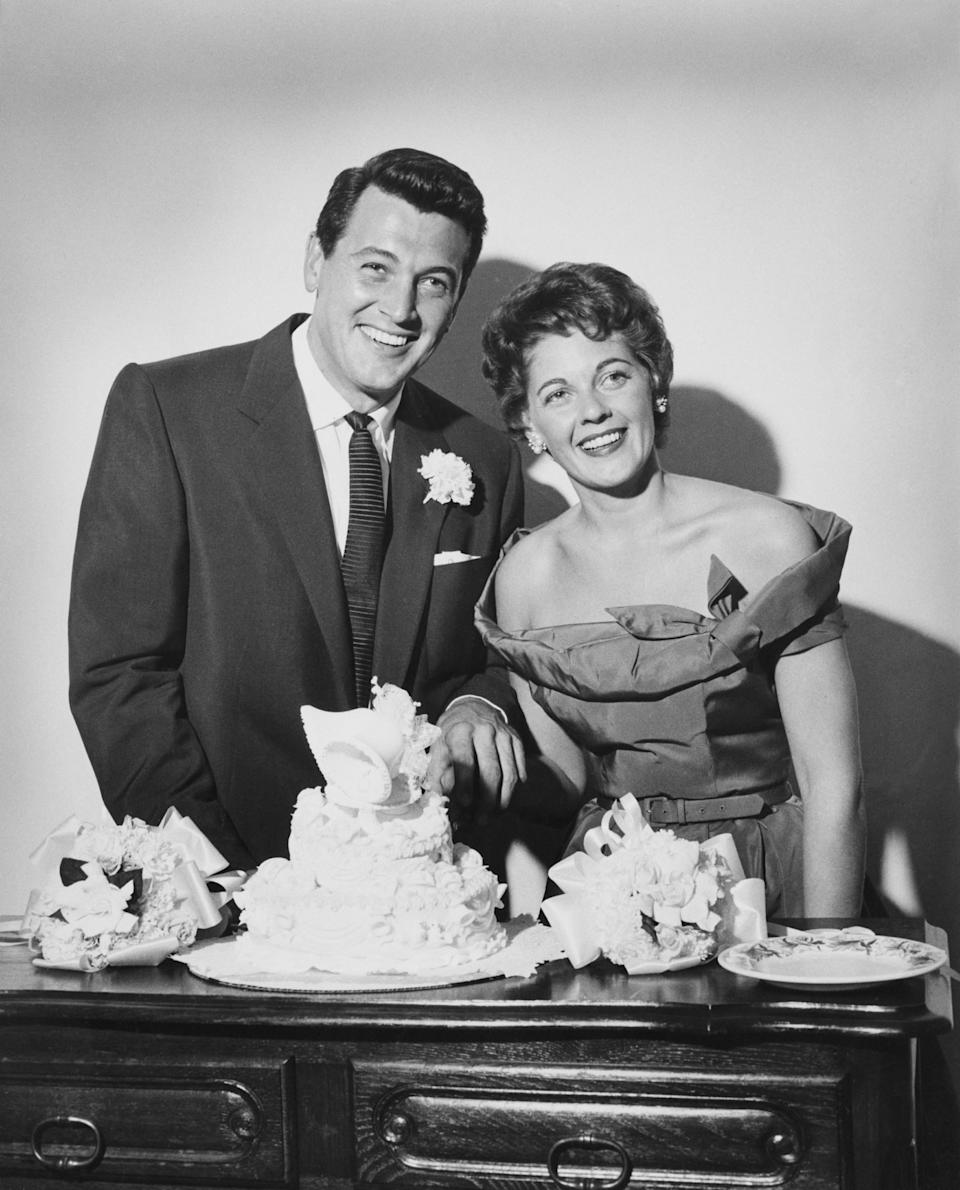 American actor Rock Hudson (1925 - 1985) with Phyllis Gates (1925 - 2006), on their wedding day, Santa Barbara, California, 9th November 1955. (Photo by Pictorial Parade/Archive Photos/Getty Images)