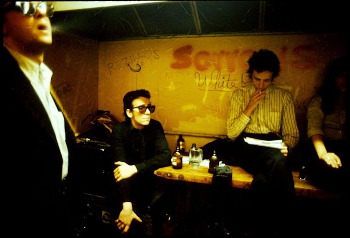 <p>Robert Quine, Elvis Costello and Richard Hell backstage of CBGB in 1978.</p>