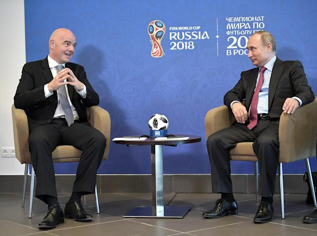 Russian President Vladimir Putin (R) meets with FIFA President Gianni Infantino in Sochi, Russia May 3, 2018. Sputnik/Aleksey Nikolskyi/Kremlin via REUTERS ATTENTION EDITORS - THIS IMAGE WAS PROVIDED BY A THIRD PARTY.