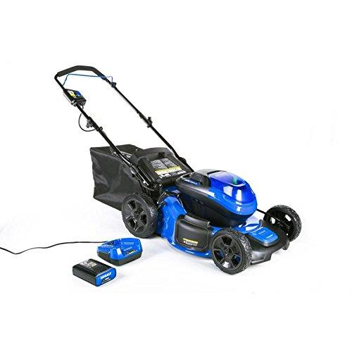 Blue and black self-propelled electric lawn mower from Kobalt