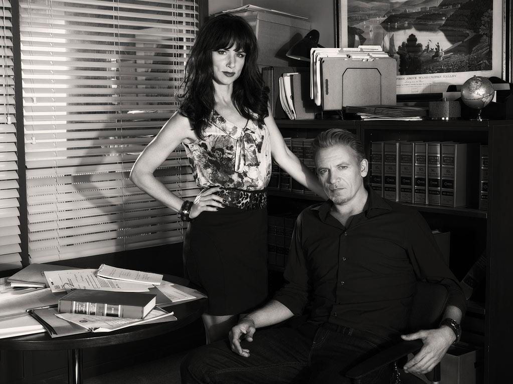 "Juliette Lewis as Tammy Hemphill and Callum Keith Rennie as Ray McDeere in ""The Firm."""