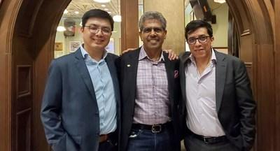 From left to right: Charles Chung, CEO, Brisk Synergies; Milton Carrasco, President and CEO, Transoft Solutions; and Luis Miranda-Moreno, Chief Scientist, Brisk Synergies. (CNW Group/Transoft Solutions Inc.)