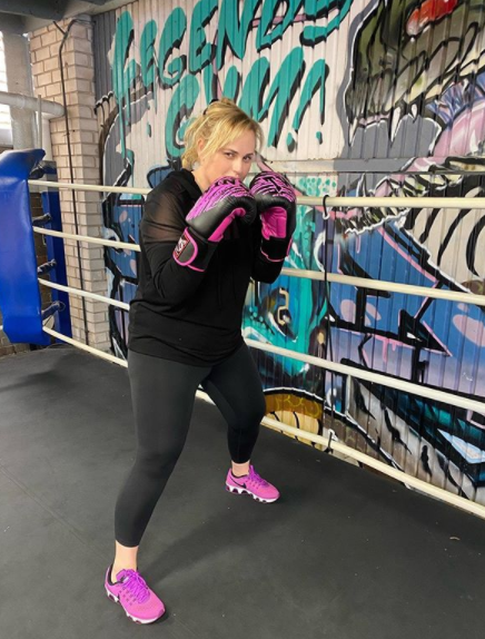 The actor hit the ring for some boxing exercise. Photo: Instagram/rebelwilson.
