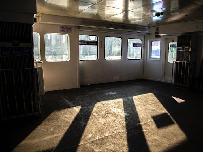 An empty ferry in Shanghai, China.