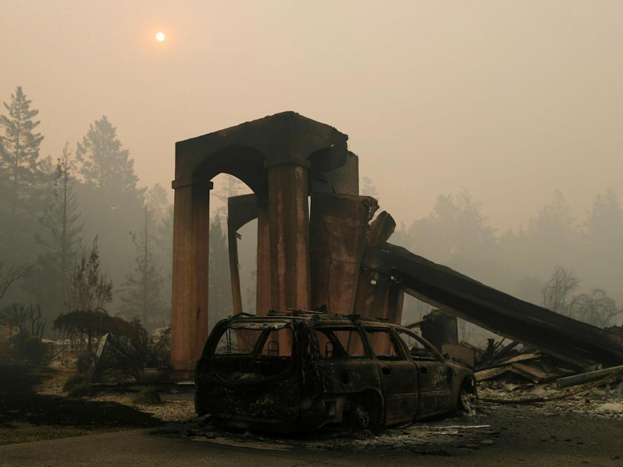 A destroyed home seen during the Tubbs Fire in Santa Rosa (Reuters)