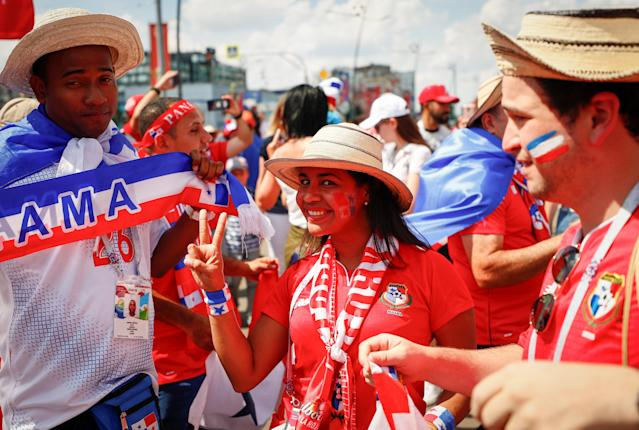 Soccer Football - FIFA World Cup - Group G - England v Panama - Nizhny Novgorod, Russia - June 24, 2018 - Supporters of Panama soccer team cheer on a street. REUTERS/Gleb Garanich