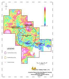 Analytical Signal of the Total Magnetic Intensity, Iska Iska Property, Potosi Department, Southern Bolivia