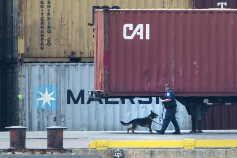 An officer with a dog inspects a container along the Delaware River in Philadelphia, Tuesday, June 18, 2019. U.S. authorities have seized more than $1 billion worth of cocaine from a ship at a Philadelphia port, calling it one of the largest drug busts in American history. The U.S. attorney's office in Philadelphia announced the massive bust on Twitter on Tuesday afternoon. Officials said agents seized about 16.5 tons (15 metric tons) of cocaine from a large ship at the Packer Marine Terminal. (AP Photo/Matt Rourke)