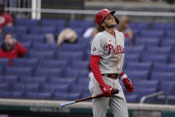 Philadelphia Phillies' Alec Bohm reacts after striking out during the ninth inning of a baseball game against the Washington Nationals at Nationals Park, Thursday, May 13, 2021, in Washington. The Nationals won 5-1. (AP Photo/Alex Brandon)