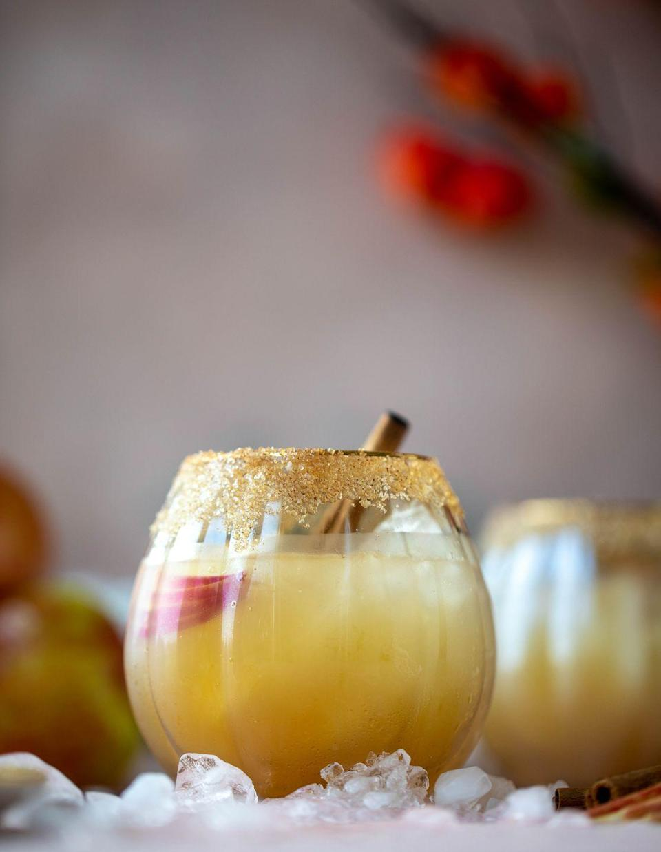 """<p>A little smoky, yet a little citrusy at the same time, this cocktail is the perfect marriage of flavors. For an added treat, skip the salt and line the glass with spiced sugar.</p><p><a class=""""link rapid-noclick-resp"""" href=""""https://www.howsweeteats.com/2019/10/apple-cider-mezcal-margarita/"""" rel=""""nofollow noopener"""" target=""""_blank"""" data-ylk=""""slk:GET THE RECIPE"""">GET THE RECIPE</a></p>"""
