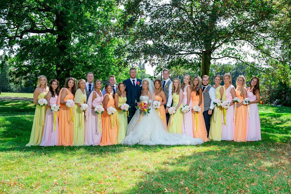 Chelsie opted to have 15 bridesmaid for her wedding to Sonny (Caters)