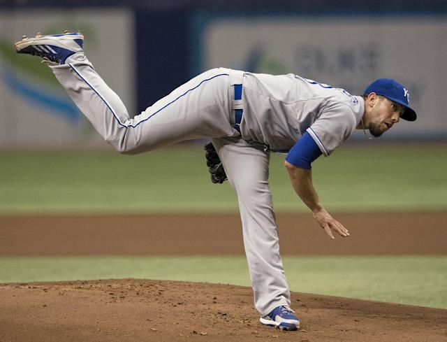Kansas City Royals' James Shields throws against the Tampa Bay Rays during the first inning of a baseball game Monday, July 7, 2014, in St. Petersburg, Fla. (AP Photo/Steve Nesius)