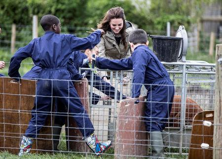 """Britain's Catherine, The Duchess of Cambridge helps children from Vauxhall primary school as they attempt to herd a pig into a pen during a visit to a """"Farms for Children"""" farm in Gloucestershire, May 3, 2017. REUTERS/Richard Pohle/Pool"""