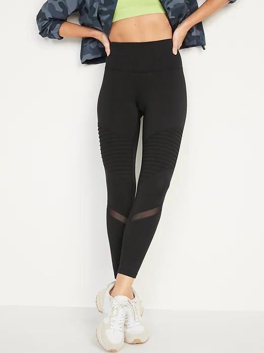 <p>The edgy, pleated design on these <span>Old Navy High-Waisted PowerPress Moto 7/8-Length Leggings</span> ($18, originally $37) makes them pants we're <em>also</em> reaching for when our workout includes time running around town.</p>