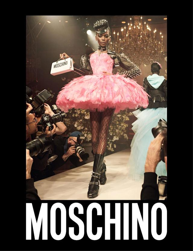 <p><strong>Model:</strong> Aube Jolicoeur<br><strong>Photographer:</strong> Steven Meisel<br>(Photo: Courtesy of Moschino) </p>