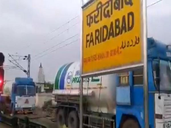 Visual of Oxygen express at Faridabad station. (Photo/ANI)
