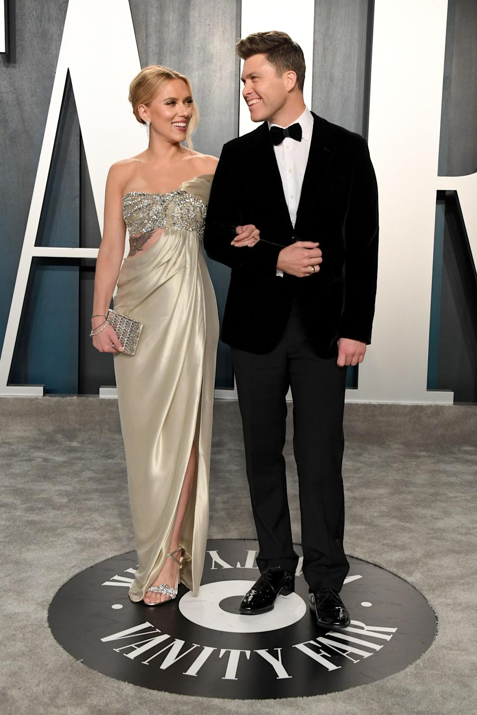 """They tied the knot in late October 2020, the organization Meals on Wheels confirmed. """"We're thrilled to break the news that Scarlett Johansson and Colin Jost were married over the weekend in an intimate ceremony with their immediate family and love ones, following COVID-19 safety precautions as directed by the CDC,"""" the org posted to Instagram. """"Their wedding wish is to help make a difference for vulnerable older adults during this difficult time by supporting <a href=""""https://www.instagram.com/mealsonwheelsamerica/"""" rel=""""nofollow noopener"""" target=""""_blank"""" data-ylk=""""slk:@mealsonwheelsamerica"""" class=""""link rapid-noclick-resp"""">@mealsonwheelsamerica</a>."""""""