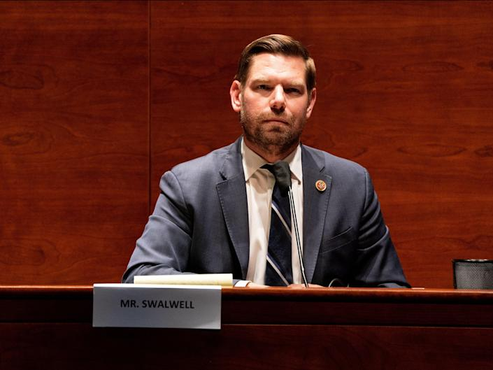 """Representative Eric Swalwell (D-CA) listens during the House Judiciary committee hearing on """"Oversight of the Department of Justice: Political Interference and Threats to Prosecutorial Independence"""", on Capitol Hill on 24 June 2020 in Washington DC ((POOL/AFP via Getty Images))"""