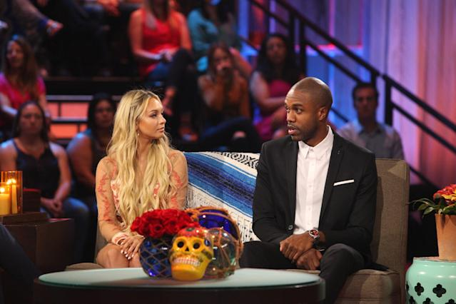 "<p>Days after filming on Season 4 began in Mexico in June, production was shut down when producers allegedly filmed DeMario Jackson in a sexual situation with a contestant who <a href=""https://www.yahoo.com/entertainment/bachelor-paradise-contestant-speaks-scandal-knew-something-bad-happened-200832535.html"" data-ylk=""slk:may not have been sober enough to consent;outcm:mb_qualified_link;_E:mb_qualified_link"" class=""link rapid-noclick-resp newsroom-embed-article"">may not have been sober enough to consent</a>. The show was put on lockdown while Warner Bros., which produces the show, investigated. Meanwhile, Jackson and the contestant in question, Corinne Olympios, lawyered up and <a href=""https://www.yahoo.com/entertainment/bachelor-paradise-contestants-corinne-olympios-demario-jackson-speak-lawyer-175927567.html"" data-ylk=""slk:issued statements;outcm:mb_qualified_link;_E:mb_qualified_link"" class=""link rapid-noclick-resp newsroom-embed-article"">issued statements</a> — he insisting that it had been consensual, and she saying that she didn't remember. Eventually, Warner Bros. <a href=""https://www.yahoo.com/entertainment/bachelor-paradise-investigation-back-production-165236648.html"" data-ylk=""slk:ended;outcm:mb_qualified_link;_E:mb_qualified_link"" class=""link rapid-noclick-resp newsroom-embed-article"">ended</a> the investigation and found that there was no misconduct. Both Jackson and Olympios spoke during the finale event, where she explained how she had been affected by a bad mix of medication and alcohol (<a href=""https://www.yahoo.com/entertainment/corinne-olympios-bachelor-paradise-scandal-dont-blame-dimario-084126780.html"" data-ylk=""slk:and didn't blame Jackson;outcm:mb_qualified_link;_E:mb_qualified_link"" class=""link rapid-noclick-resp newsroom-embed-article"">and didn't blame Jackson</a>), and the two shared their desire to <a href=""https://www.yahoo.com/entertainment/bachelor-paradise-finale-preview-corinne-demario-reunite-211127555.html"" data-ylk=""slk:put the incident behind them;outcm:mb_qualified_link;_E:mb_qualified_link"" class=""link rapid-noclick-resp newsroom-embed-article"">put the incident behind them</a>. (Photo: Getty Images) </p>"