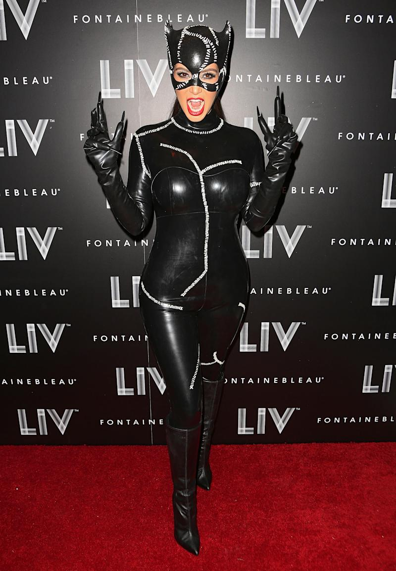 Kim Kardashian arrives at Kim Kardashian's Halloween party at LIV nightclub at Fontainebleau Miami on October 31, 2012 in Miami Beach, Florida. Photo courtesy of Getty Images.