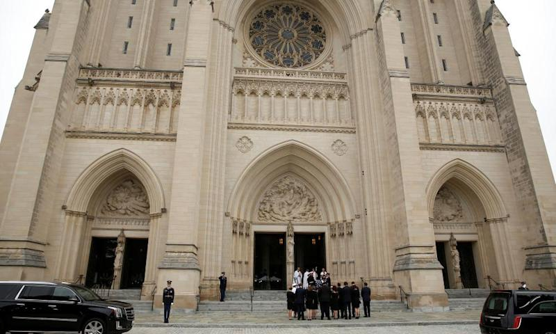 John McCain's memorial service at the National Cathedral in Washington DC.