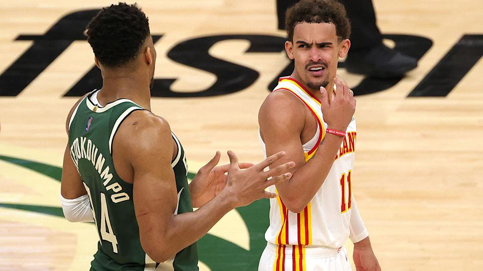 Trae Young, pictured here arguing with Giannis Antetokounmpo during Game 1 of the Eastern Conference Finals.