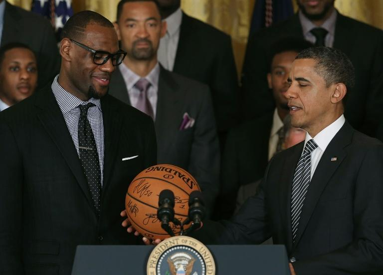 Basketball jerseys worn by LeBron James (left) and former US President Barack Obama (right) are among items due to go under the hammer at an auction in Beverly Hills next month
