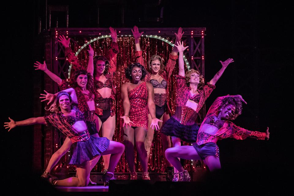 Lola (centre) flanked by her Angels on 5 October, 2018, at the Sands Theatre. (PHOTO: Sebastien Teissier/Kinky Boots)