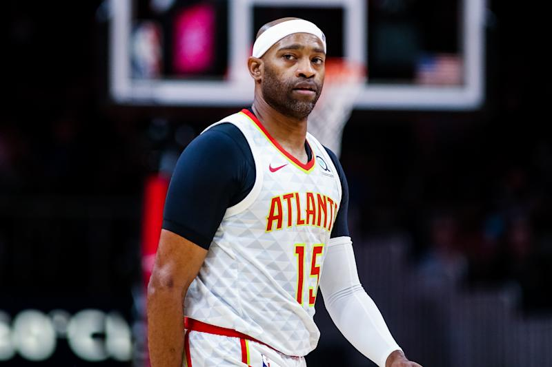 ATLANTA, GA - OCTOBER 7: Vince Carter #15 of the Atlanta Hawks looks on during a preseason game against the New Orleans Pelicans at State Farm Arena on October 7, 2019 in Atlanta, Georgia. NOTE TO USER: User expressly acknowledges and agrees that, by downloading and or using this photograph, User is consenting to the terms and conditions of the Getty Images License Agreement. (Photo by Carmen Mandato/Getty Images)