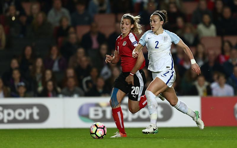 Lucy playing against Austria Women at Stadium mk on April 10, 2017 in Milton Keynes, England. - Credit: Getty