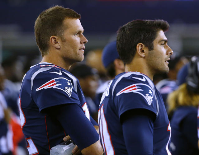 "Tom Brady said on Tuesday that he ""loved"" working with his former teammate, Jimmy Garoppolo, after an ESPN story said Brady forced the Patriots to trade Garoppolo. (AP)"