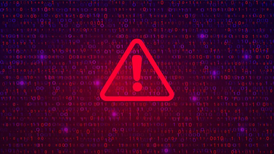 Abstract Technology Binary Code Dark Red Background. Cyber Attack, Ransomware, Malware, Scareware Concept