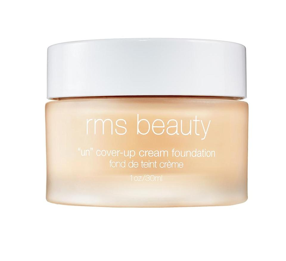 """<p>""""I swear by this foundation — it is incredible! It's my go-to for an all-natural makeup look as it gives my skin just the right amount of coverage and instantly evens out my complexion.""""</p> <p><strong>Buy It!</strong> RMS Beauty """"Un"""" Cover-Up Cream Foundation, $52; <a href=""""https://click.linksynergy.com/deeplink?id=93xLBvPhAeE&mid=2417&murl=https%3A%2F%2Fwww.sephora.com%2Fproduct%2Fun-cover-up-cream-foundation-P450899&u1=PEOThe8BeautyProductsMirandaKerrCantLiveWithoutjfields1271StyGal12662760202104I"""" rel=""""sponsored noopener"""" target=""""_blank"""" data-ylk=""""slk:sephora.com"""" class=""""link rapid-noclick-resp"""">sephora.com</a></p>"""