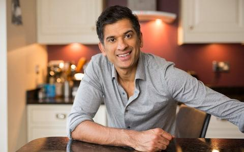 'People think about calories, they think of fat and carbs. That's too short-sighted,' says Dr Chatterjee, pictured here in his kitchen in Wilmslow, Cheshire - Credit: Andrew Fox/The Telegraph