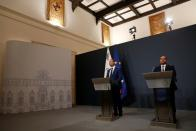 PM Abela and Finance Minister Caruana hold a news conference, in Valletta