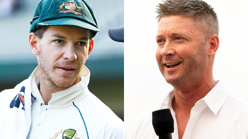 Tim Paine and Michael Clarke, pictured here in 2019.