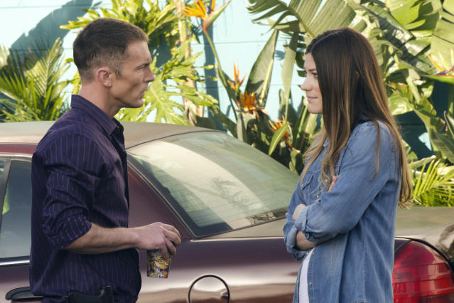 "Desmond Harrington as Joey Quinn and Jennifer Carpenter as Debra Morgan in the ""Dexter"" Season 8 episode, ""Scar Tissue."""