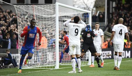 Crystal Palace's Christian Benteke celebrates after Watford's Troy Deeney scores an own goal and the first for Crystal Palace